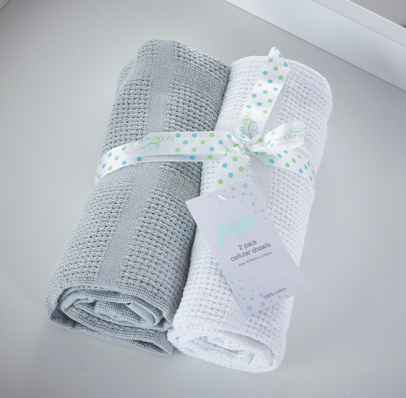 2 Pack Cellular blankets_white and grey